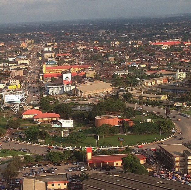 Aerial view of Oba Ovonramwen Square and Ring Road, Benin City
