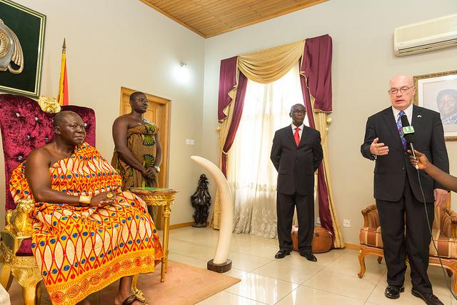 Asantehene Osei Tutu II receiving U.S. Ambassador Jackson at Manhyia Palace