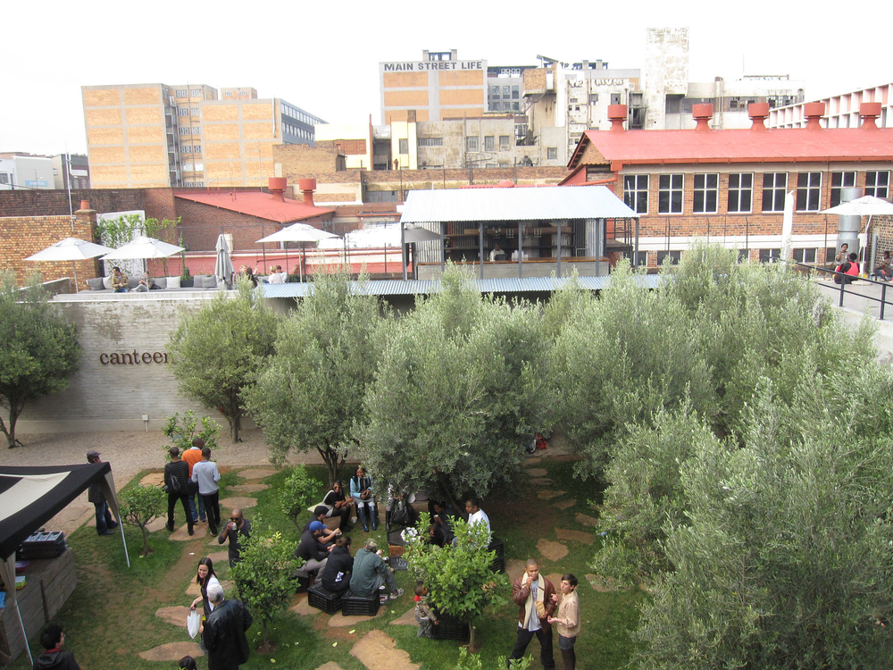 Arts on Main courtyard and rooftop bar