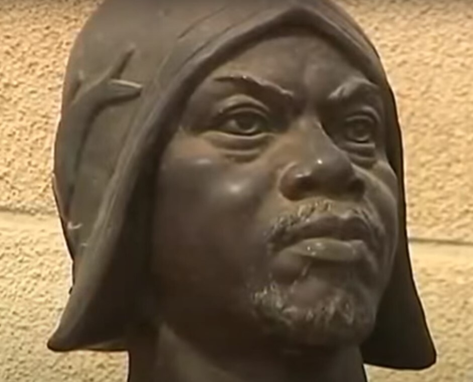 Detail of the sculpture's face