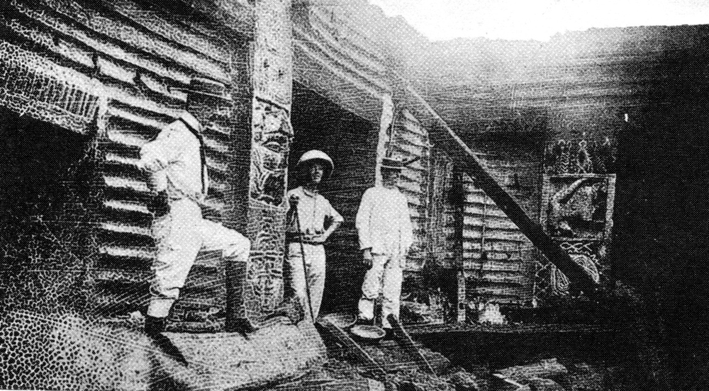 British Officers in the Ruins of the Benin Palace