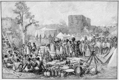 Engraving of General Dodd's encampment after realizing that King Behanzin had burned the Palaces of Abomey.