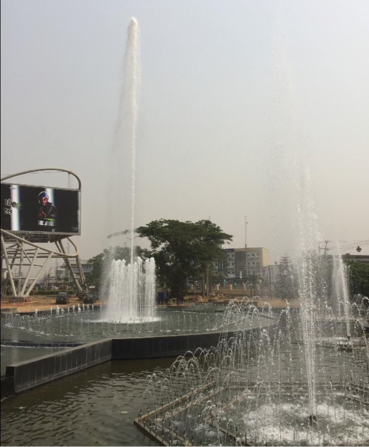 Dancing Fountain on King Ovaramwen Square's Central Island