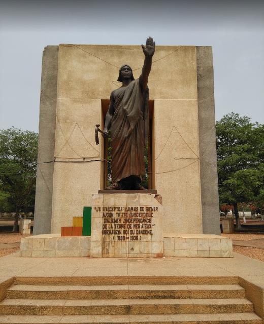 King Behanzin monument in Place Goho, Abomey.